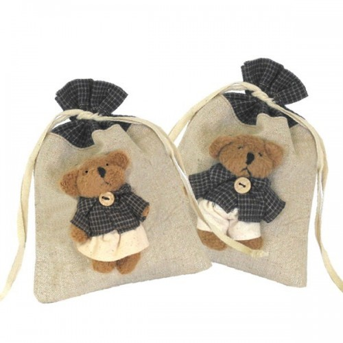 Raffia Pouches with dolls Medium