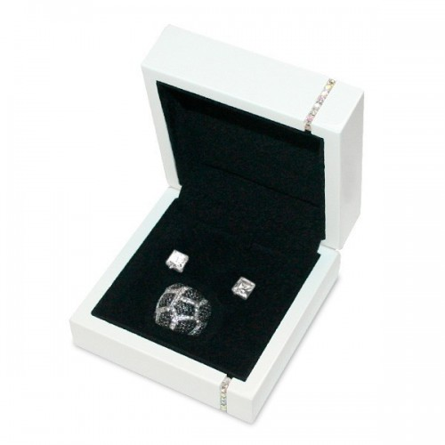 Diamonds Jewellery Box, Earrings and Necklace