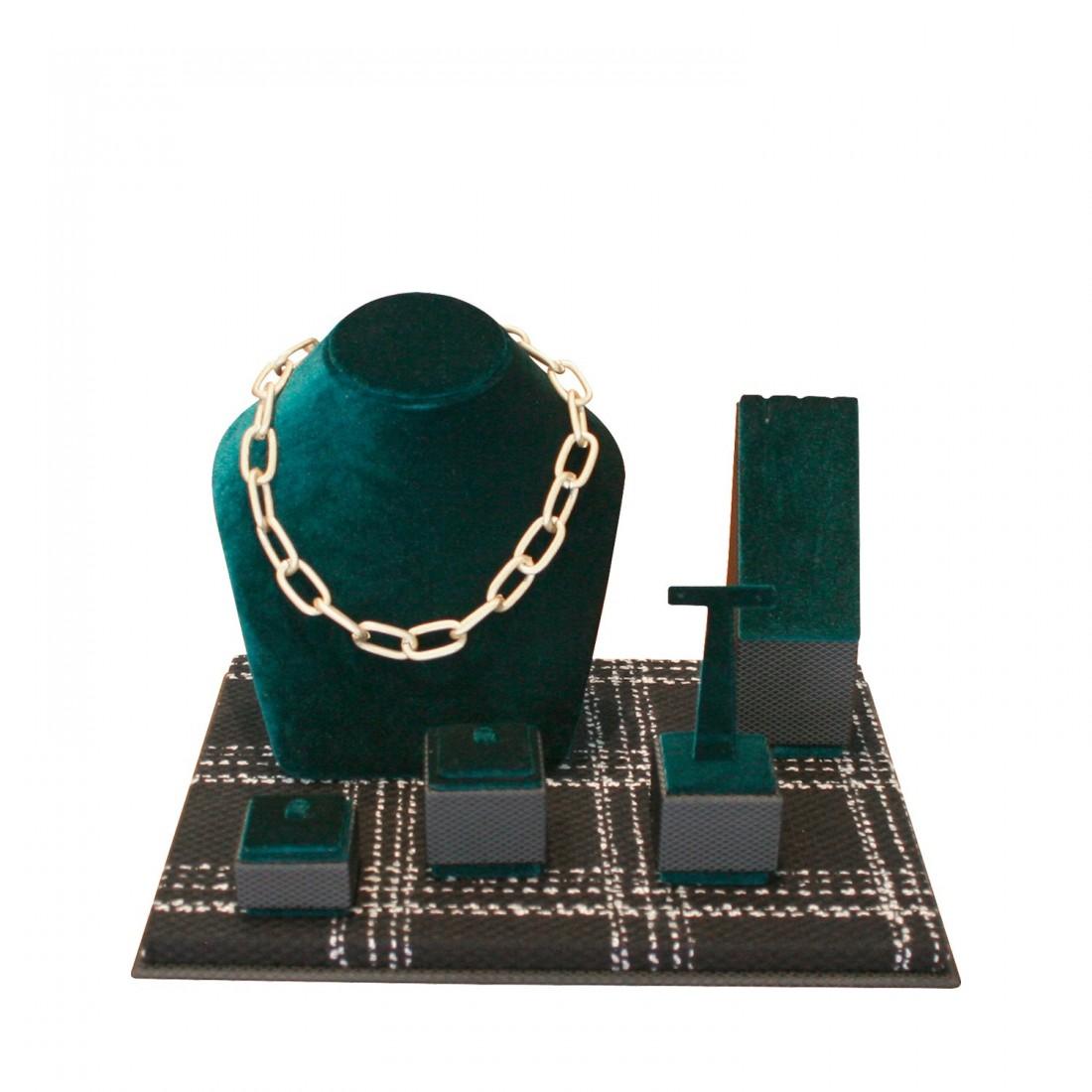 Jewelry display set, mini corner green