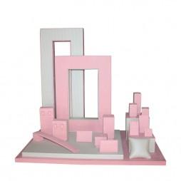 Jewelry display set, square pink
