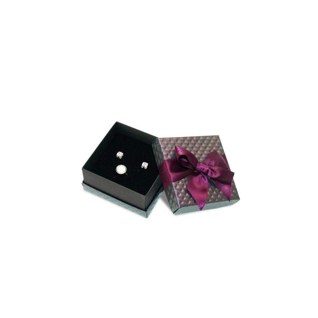 Caja de cartón para juego de pendientes y anillo