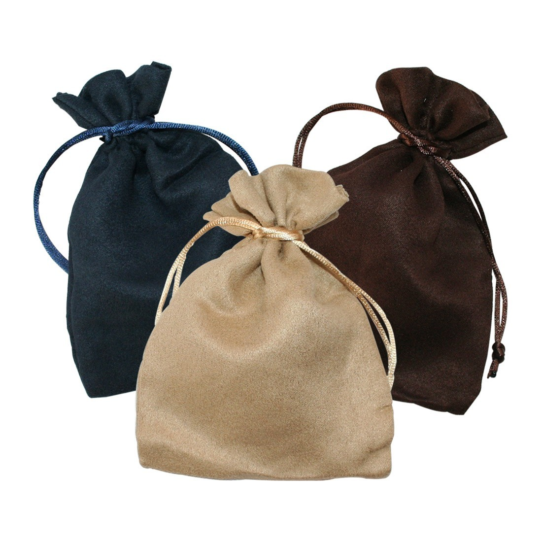 Suede pouch for jewels and costume jewellery