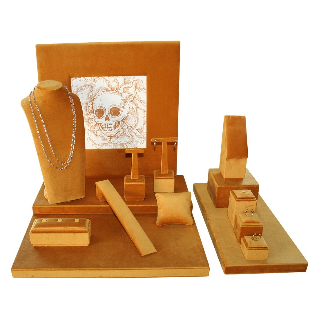 Modern jewelry display set, skrull velvet luxe