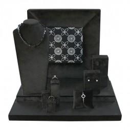 Jewelry display set in black velvet