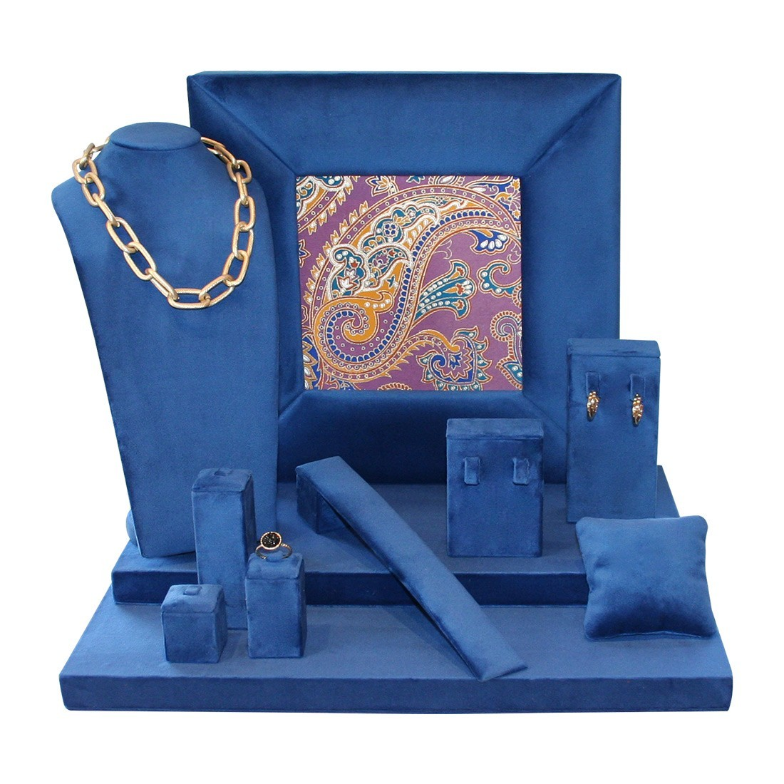 Velvet jewelry display set in blue with cashmere print
