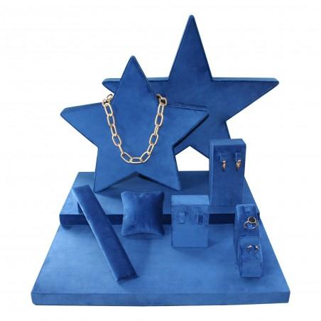Escaparate de joyería Stars, con forma de estrella en terciopelo azul