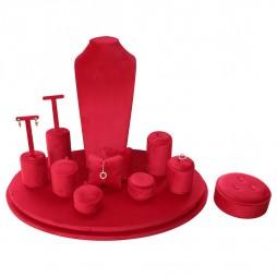 Escaparate de joyería Oval, en terciopelo rojo
