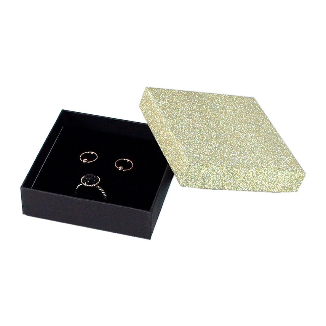 Glitter cardboard jewellery box for earrings and ring, Compack