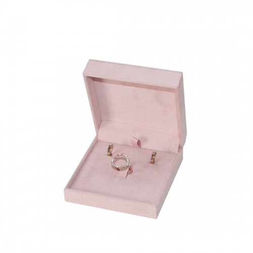 Multipurpose jewellery box, earrings, ring and chain. Pink Suede
