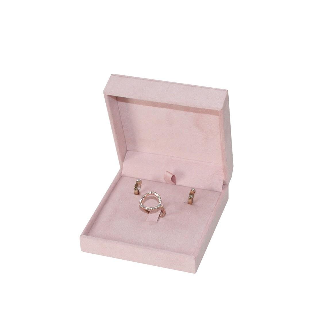Estuche de joyería multiuso, anillo, pendientes y cadena. Suede rosa nude