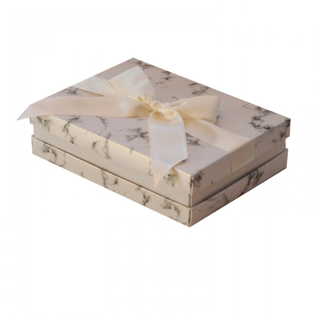 Caja de cartón para collar, Florencia Mármol blanca