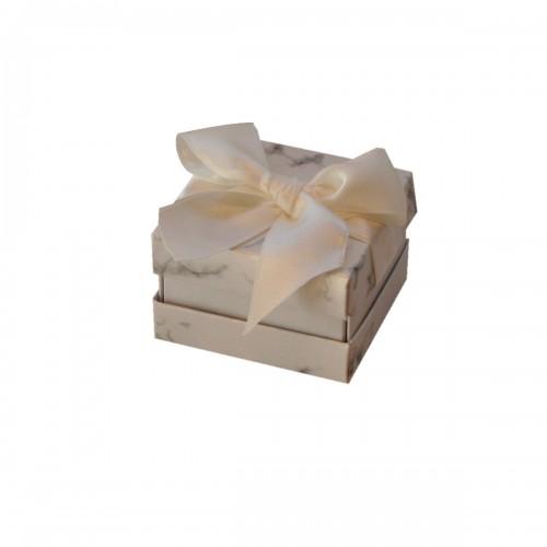 Caja para anillo o pendientes, Florencia Mármol blanca