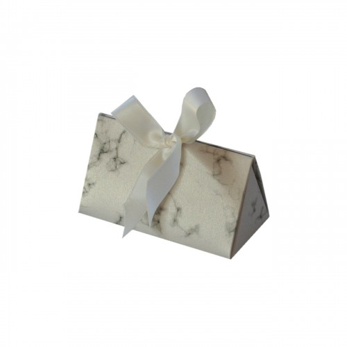 Jewelry cardboard box xwith marble print, white