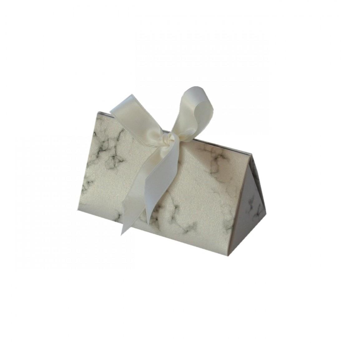 Bolsa de cartón con estampado de mármol blanco, para joyería