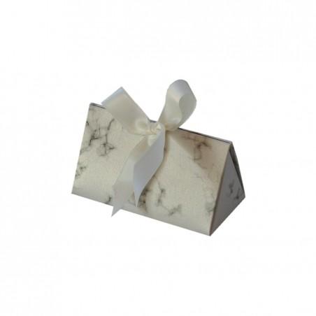 Jewelry cardboard box xwith marble print, white