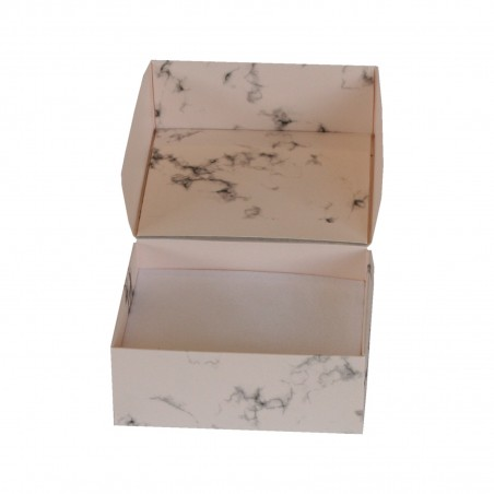Cardboard jewellery box marble printed in pink for ring and earrings or chain