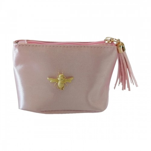 Satin jewellery bag with decorative bee, pink