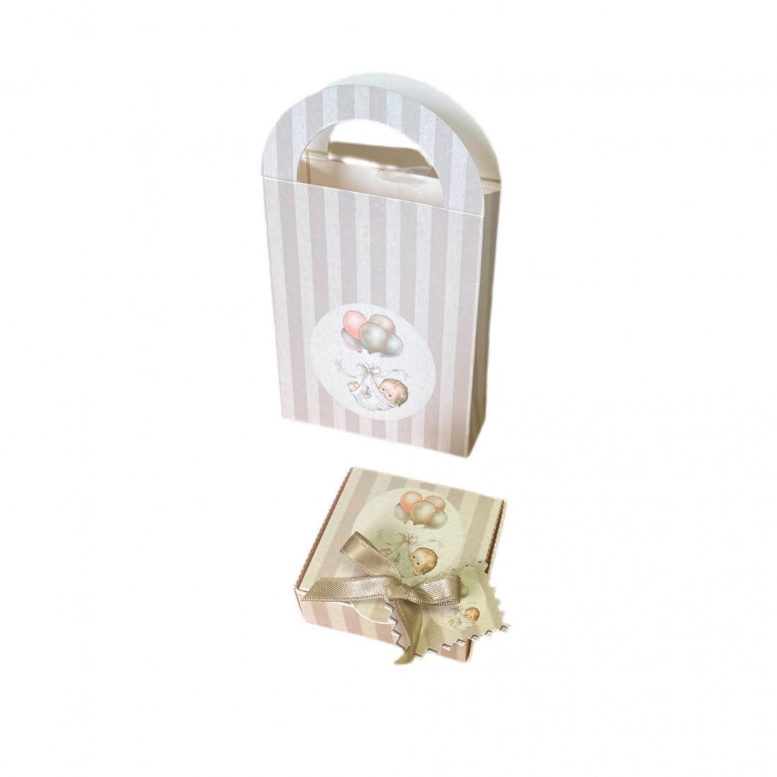 Kit Caja + Bolsa rayas Baby vintage