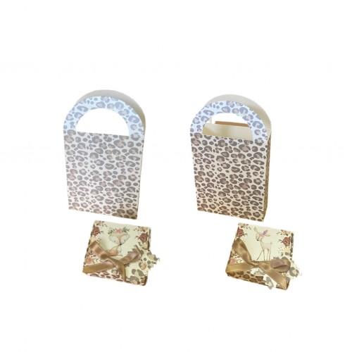 Kit Caja + Bolsa Leopard Sweet Animals