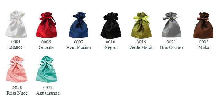 Bolsas de raso - catálogo de colores