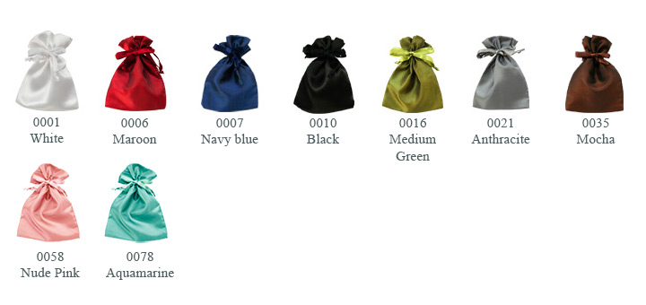 Satin pouches - color catalogue