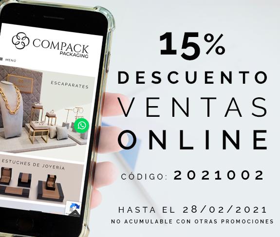 15% descuento en ventas online hasta el 28/02/2021