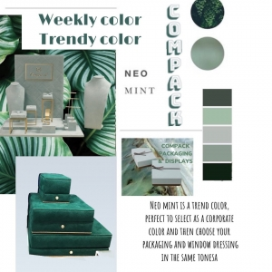 Weekly color is Neo mint is a trendy color, this color is perfect to select as a corporate color and then choose your packaging and window dressing in the same tones. . . #compackpaxkaging #compacktrendycolors #compackweeklycolor #mintgreen